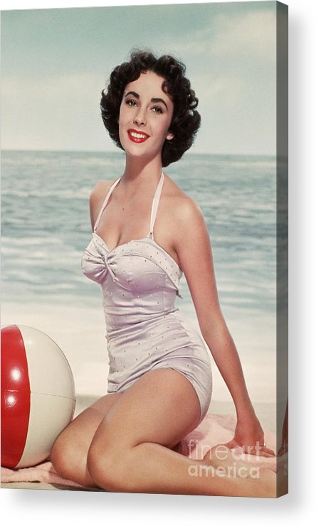 People Acrylic Print featuring the photograph Elizabeth Taylor In A Bathing Suit by Bettmann