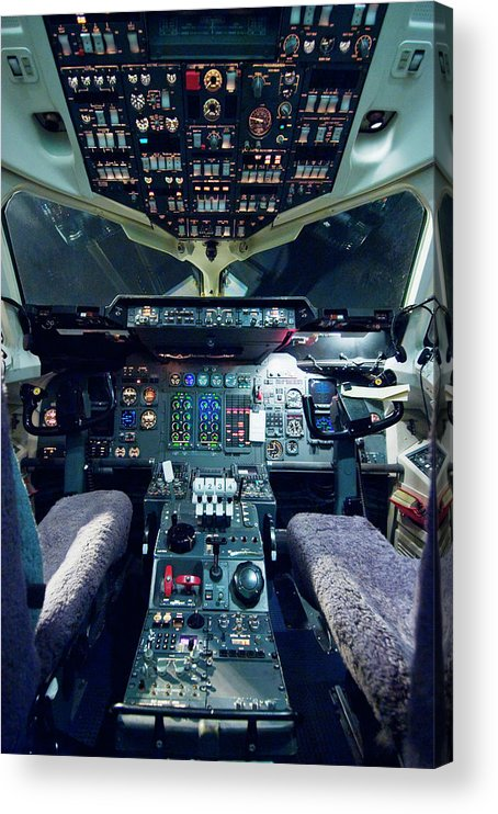Cockpit Acrylic Print featuring the photograph Empty Aeroplane Cockpit by Moodboard