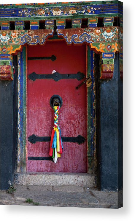 Chinese Culture Acrylic Print featuring the photograph Entrance To The Tibetan Monastery by Hanhanpeggy