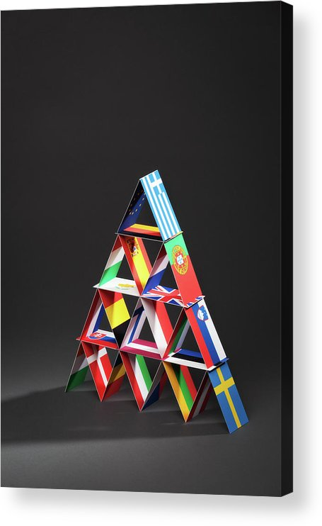 Debt Acrylic Print featuring the photograph European Debt Crisis House Of Cards Vt by Yinyang