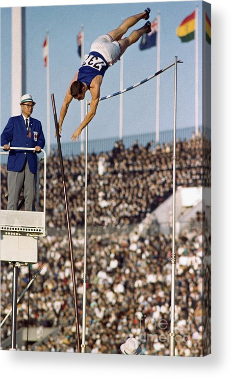 The Olympic Games Acrylic Print featuring the photograph Fred Hansen Pole Vaulting by Bettmann