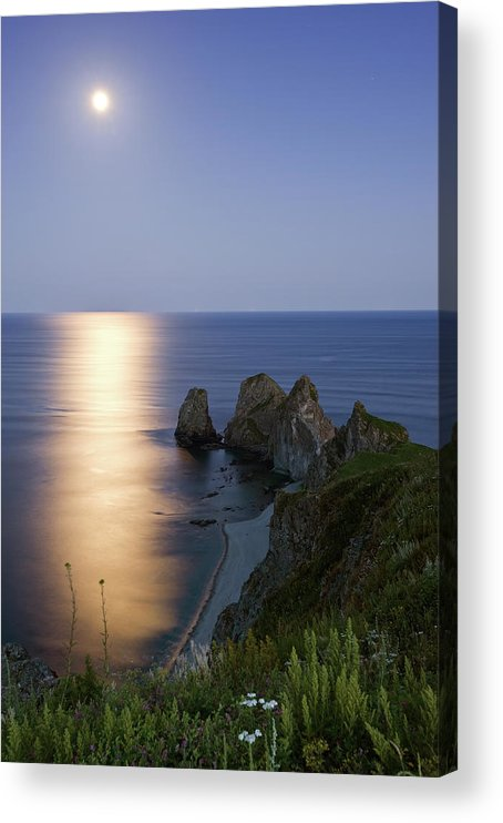 Scenics Acrylic Print featuring the photograph Full Moon On Cape Four Rocks by V. Serebryanskiy