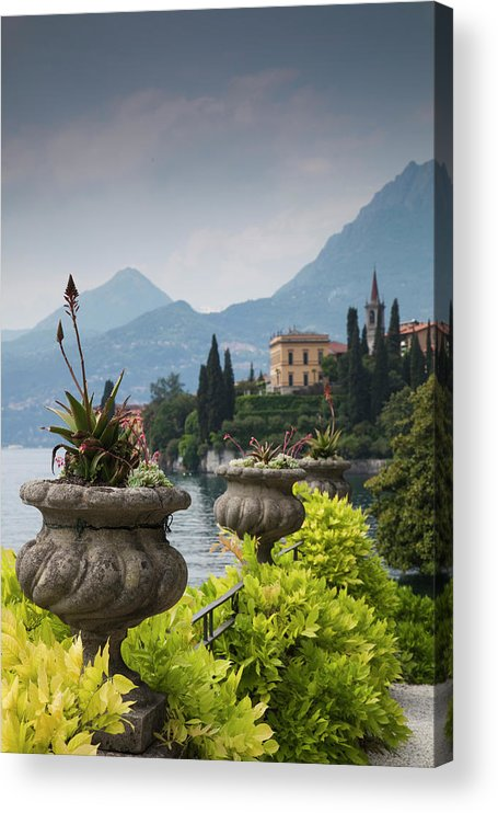 Scenics Acrylic Print featuring the photograph Gardens And Lakefront, Villa Monastero by Walter Bibikow