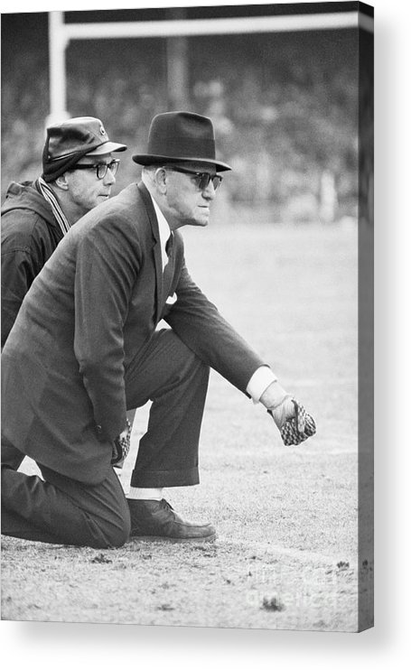Fist Acrylic Print featuring the photograph George Halas Kneeling On Sidelines by Bettmann