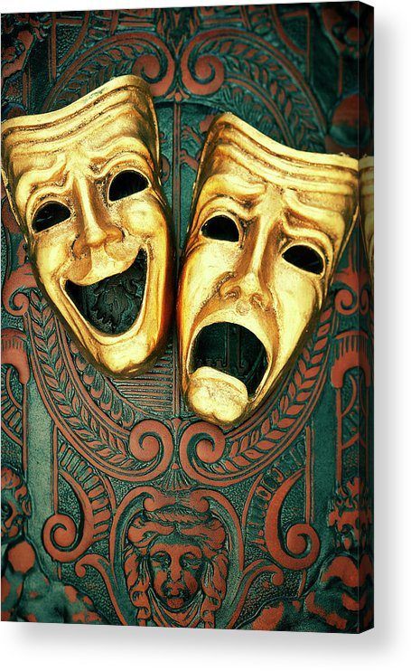 Leather Acrylic Print featuring the photograph Golden Comedy And Tragedy Masks On by David Muir