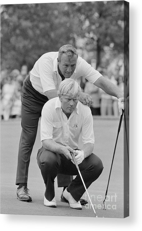 Playoffs Acrylic Print featuring the photograph Golf Professionals Nicklaus And Palmer by Bettmann
