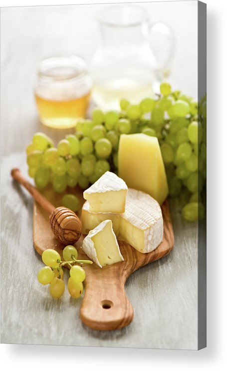 Cheese Acrylic Print featuring the photograph Grape, Honey And Cheese by Verdina Anna