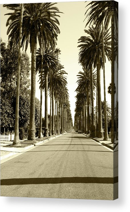 1950-1959 Acrylic Print featuring the photograph Grayscale Image Of Beverly Hills by Marcomarchi