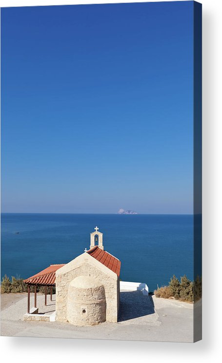 Scenics Acrylic Print featuring the photograph Greek Chapel And The Sea, Crete by Saro17