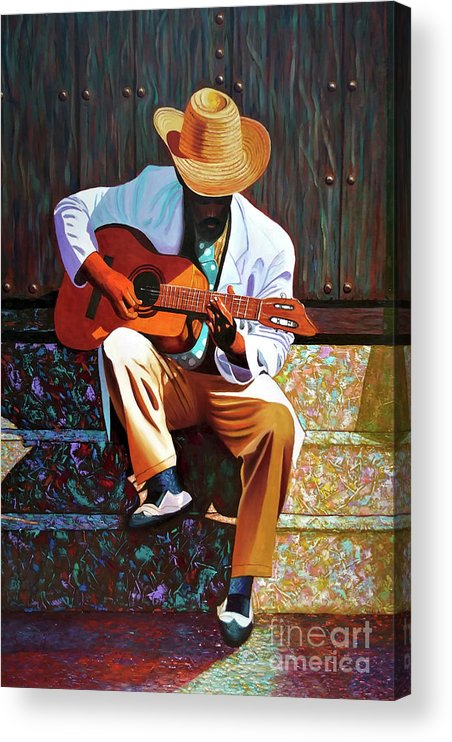 Cuban Acrylic Print featuring the painting Guitar player #3 by Jose Manuel Abraham