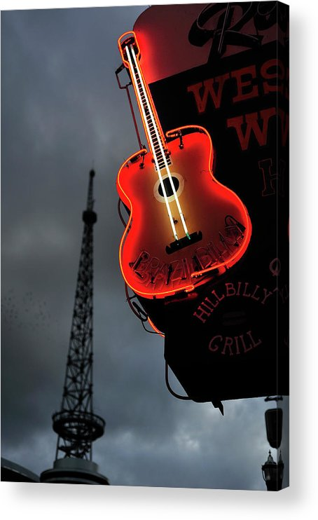 Outdoors Acrylic Print featuring the photograph Guitar With Nashville by James Atkinson Photography