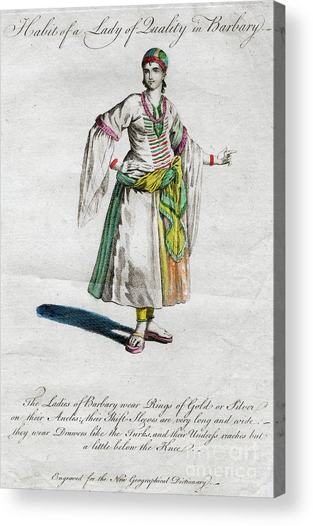 Engraving Acrylic Print featuring the drawing Habit Of A Lady Of Quality In Barbary by Print Collector