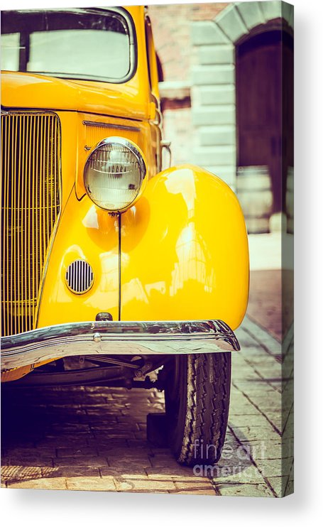 Auto Acrylic Print featuring the photograph Headlight Lamp Vintage Car - Vintage by Food Travel Stockforlife