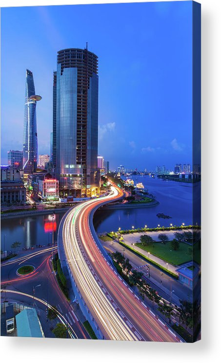 Ho Chi Minh City Acrylic Print featuring the photograph Ho Chi Minh City At Night by Jethuynh
