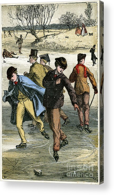 Engraving Acrylic Print featuring the drawing Ice Skating, 19th Century by Print Collector