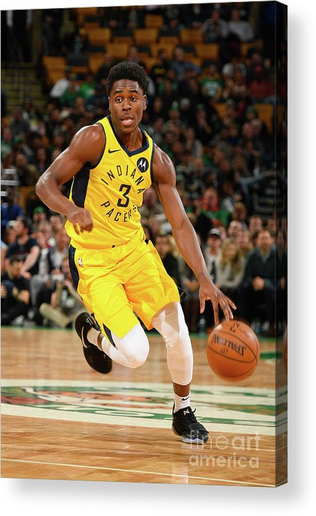 Nba Pro Basketball Acrylic Print featuring the photograph Indiana Pacers V Boston Celtics by Steve Babineau
