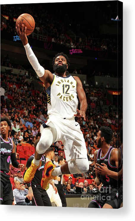 Nba Pro Basketball Acrylic Print featuring the photograph Indiana Pacers V Miami Heat by Oscar Baldizon