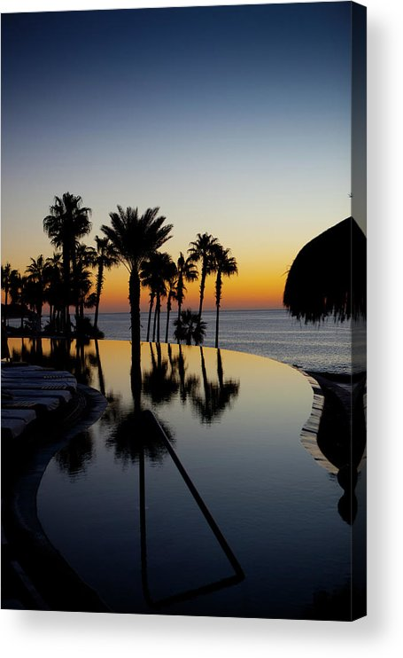 Beach Hut Acrylic Print featuring the photograph Infinity Pool At Sunset by P wei