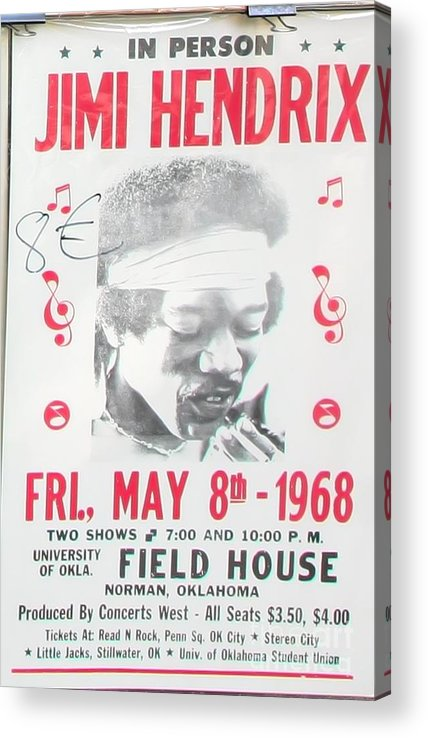 Pop Art Acrylic Print featuring the photograph Jimi Hendrix Poster 1968 by Chuck Kuhn