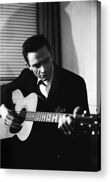 Singer Acrylic Print featuring the photograph Johnny Cash At The New York Folk by Michael Ochs Archives