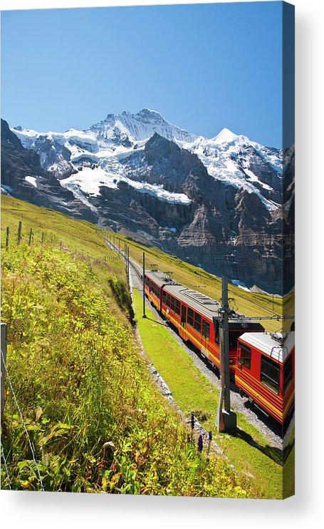 Scenics Acrylic Print featuring the photograph Jungfraubahn, Swiss Alps by Michaelutech