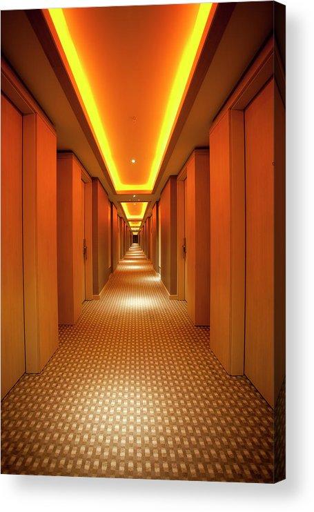 Long Acrylic Print featuring the photograph Long, Narrow Corridor With Retro Themed by Dogayusufdokdok