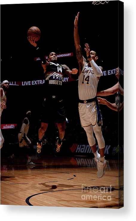 Nba Pro Basketball Acrylic Print featuring the photograph Los Angeles Lakers V Denver Nuggets by Bart Young