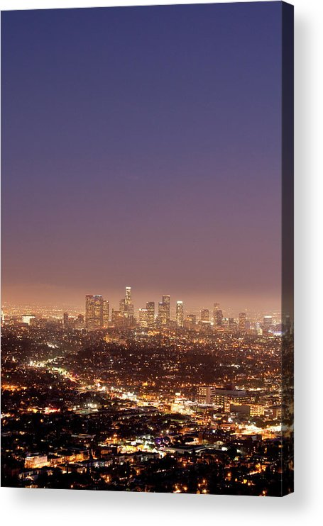 Scenics Acrylic Print featuring the photograph Los Angeles Skyline At Twilight by Uschools