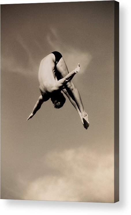 Diving Into Water Acrylic Print featuring the photograph Male Diver In Mid-air by David Madison