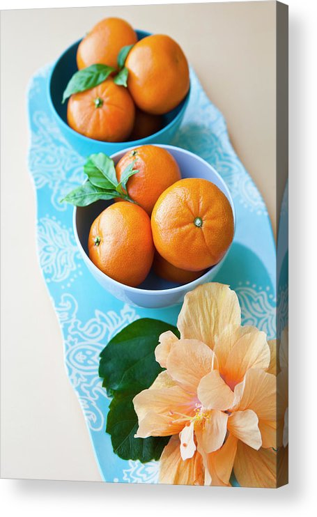 Florida Acrylic Print featuring the photograph Mandarin Oranges On A Platter by Pam Mclean