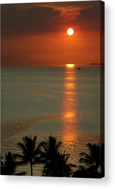 East Acrylic Print featuring the photograph Manila Bay Sunset by Vanwyckexpress