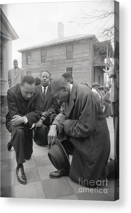 Mature Adult Acrylic Print featuring the photograph Martin Luther King Jr. Praying by Bettmann
