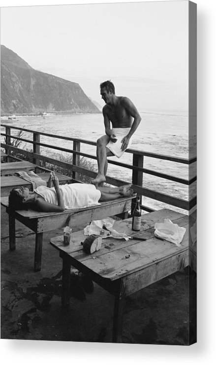 Steve Mcqueen Acrylic Print featuring the photograph Mcqueen & Adams Relax In Big Sur by John Dominis