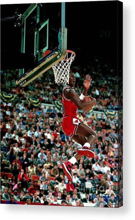 Chicago Bulls Acrylic Print featuring the photograph Michael Jordan Competes In The Nba All by Andrew D. Bernstein