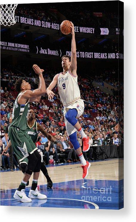 Sports Ball Acrylic Print featuring the photograph Milwaukee Bucks V Philadelphia 76ers by David Dow