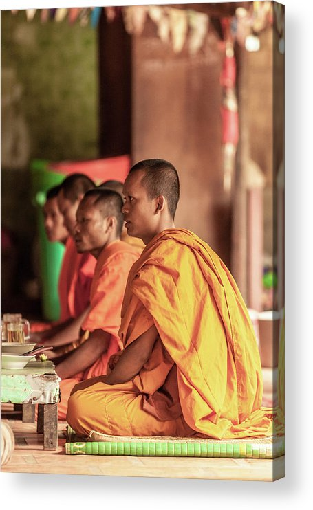 Young Men Acrylic Print featuring the photograph Monks At Breakfast, Wat Monastery by Cultura Rm Exclusive/gary Latham