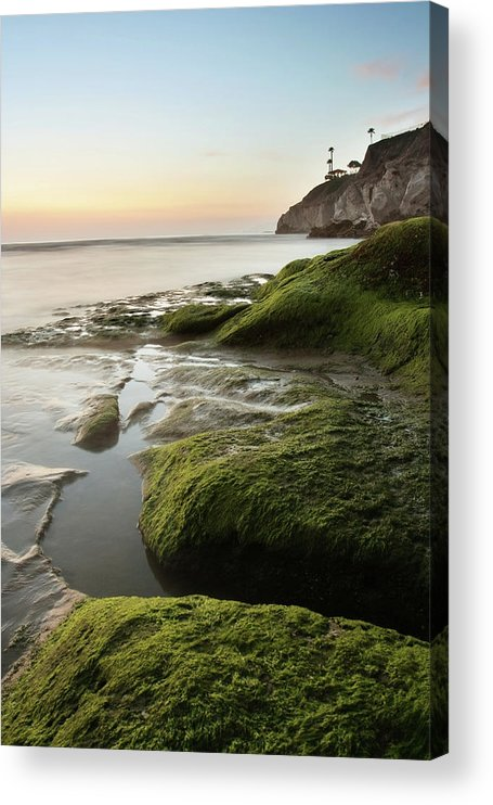 Pismo Beach Acrylic Print featuring the photograph Mossy Rocks At Pismo Beach by Kevinruss