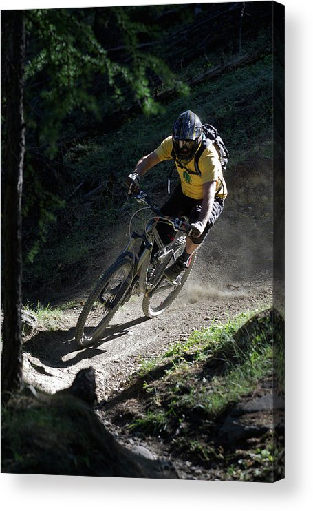 Sports Helmet Acrylic Print featuring the photograph Mountain Biker On Dirt Path by Michael Truelove