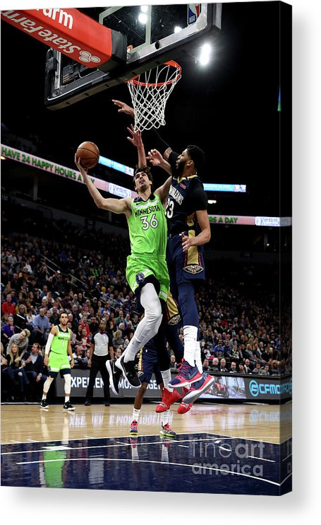 Nba Pro Basketball Acrylic Print featuring the photograph New Orleans Pelicans V Minnesota by Jordan Johnson