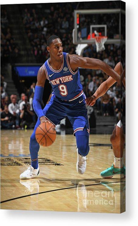Nba Pro Basketball Acrylic Print featuring the photograph New York Knicks V San Antonio Spurs by Garrett Ellwood