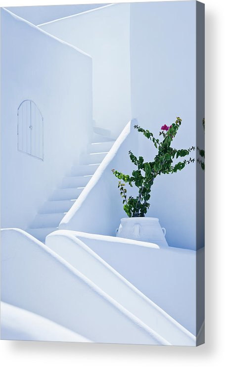 Steps Acrylic Print featuring the photograph Nice White Stairs In Oia Village by Mbbirdy