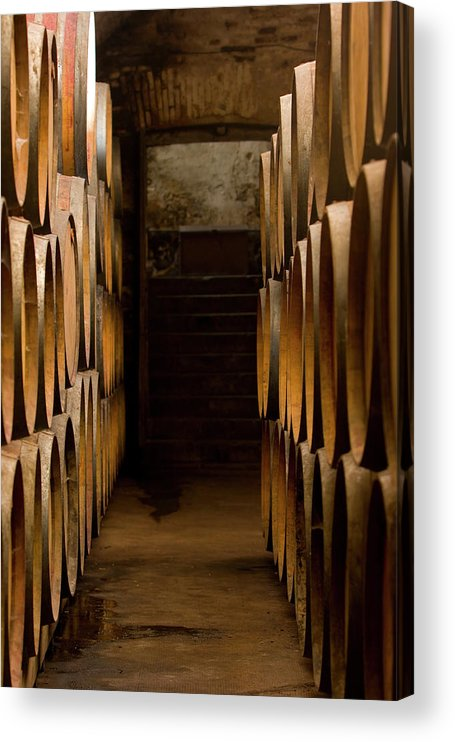 Alcohol Acrylic Print featuring the photograph Oak Barrels At The Wine Cellar by Kycstudio