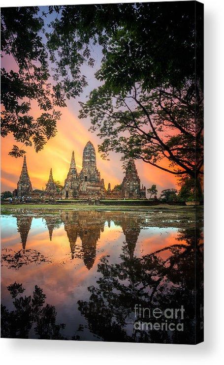 Sukhothai Acrylic Print featuring the photograph Old Temple Wat Chaiwatthanaram by Santiphotoss