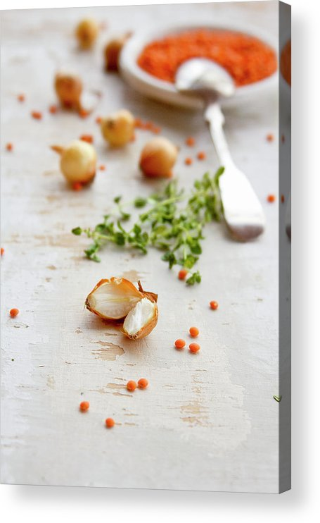 Vilnius Acrylic Print featuring the photograph Orange Lentil, Onions, Thyme by ©tasty Food And Photography