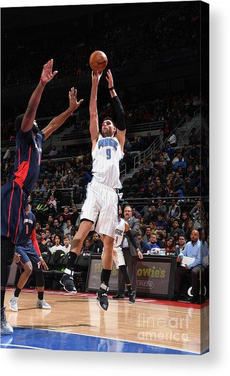 Nba Pro Basketball Acrylic Print featuring the photograph Orlando Magic V Detroit Pistons by Chris Schwegler