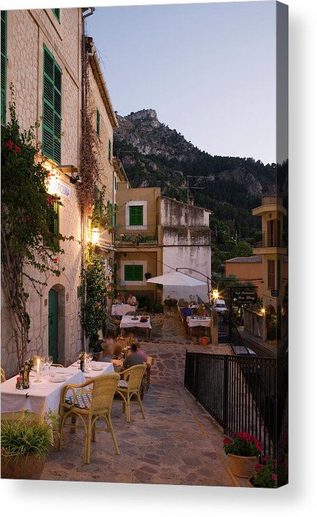 People Acrylic Print featuring the photograph Outdoor Seating At Son Llarg Restaurant by Holger Leue