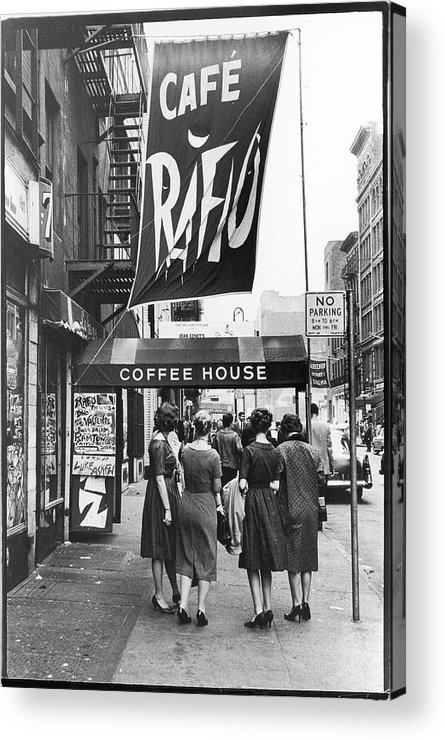 Pedestrian Acrylic Print featuring the photograph Outside The Cafe Rafio by Fred W. McDarrah