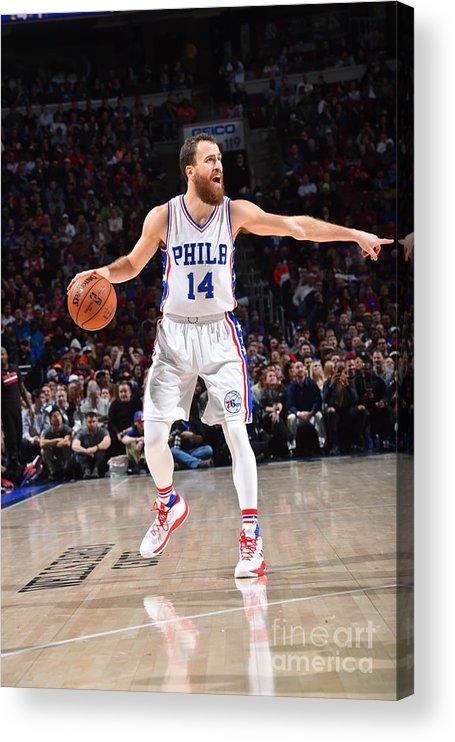 Nba Pro Basketball Acrylic Print featuring the photograph Philadelphia 76ers V Houston Rockets by Jesse D. Garrabrant