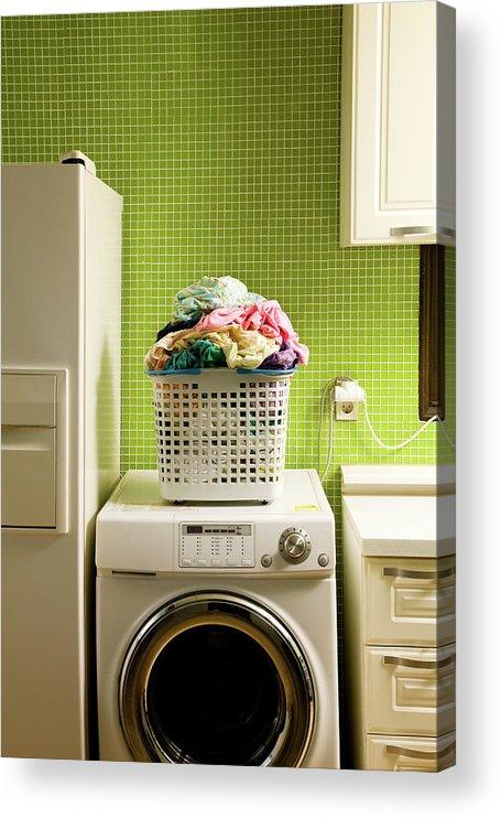 Washing Machine Acrylic Print featuring the photograph Pile Of Laundry On Washing Machine by Jae Rew