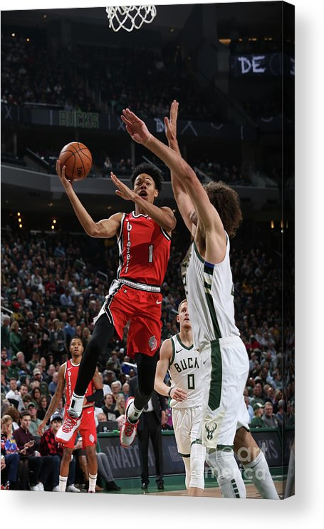 Nba Pro Basketball Acrylic Print featuring the photograph Portland Trail Blazers V Milwaukee Bucks by Gary Dineen